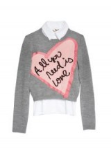 Alice +Olivia X THE BEATLES ALL YOU NEED IS LOVE PULLOVER / grey slogan sweaters