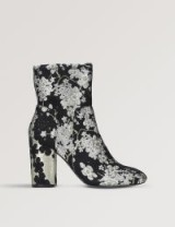NINE WEST Corban brocade ankle boots / flowery boot / chunky heel