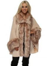JAYLEY Luxurious Nude Pink Faux Fur Cape Coat ~ luxe style winter coats