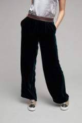 Anthropologie Oakley Velvet Wide Leg Trousers   green pants