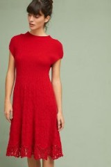 Feather Bone Oda Sweater Dress   red knitted dresses