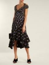 PETER PILOTTO Off-the-shoulder dot-print stretch-cady dress ~ cold shoulder asymmetric hemline dresses