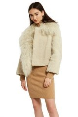 Opening Ceremony Re-Editions PATCHWORK SHEARLING COAT | luxe ivory winter coats | chic fluffy jackets