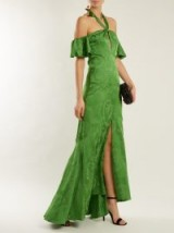 TEMPERLEY LONDON Orbit tie-neck leaf-jacquard satin gown ~ green off shoulder gowns