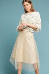 Eva Franco Orella Metallic Star Tulle Skirt | pink sheer overlay skirts