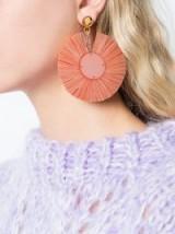 OSCAR DE LA RENTA small raffia disk pierced earrings