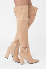 Lavish Alice Over Knee Leather Boots with Buckle ~ luxe light tan boots