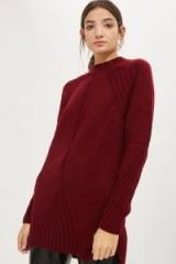 Topshop Petal Hem Grunge Dress   berry red sweater dresses   knitted tunics   winter reds