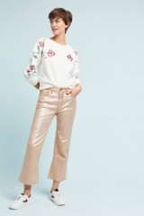 Pilcro Coated High Rise Metallic Skinny Jeans / shiny pink cropped trousers / casual / stylish