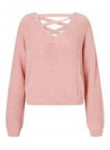 Miss Selfridge Pink Crop Lattice Back Knitted Jumper