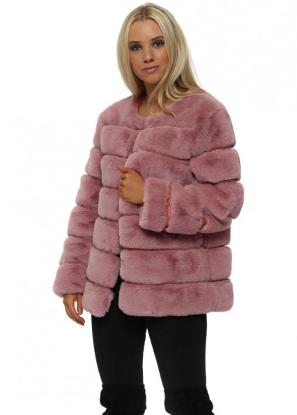 FRENCH BOUTIQUE Pink Panelled Luxe Faux Fur Coat ~ fluffy winter jackets ~ glamour