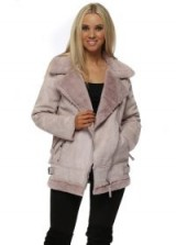REDIAL Pink Faux Shearling Aviator Jacket ~ winter jackets