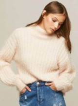 Miss Selfridge Pink Fluffy Volume Sleeve Knitted Jumper