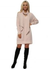 PINKA Soft Pink Knitted V Neck Jumper Dress With Scarf ~ knitted sweater dresses