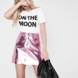 River Island Pink metallic faux leather mini skirt – shiny A-line skirts