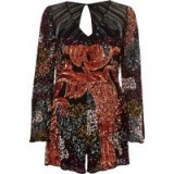 River Island Pink sequin embellished bell sleeve playsuit ~ glittering party playsuits