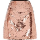 River Island Pink sequin embellished mini skirt ~ shimmering a-line party skirts