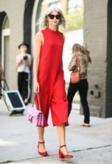 Red outfit & lilac bag