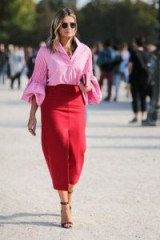Pink blouse & red pencil skirt