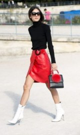 Red leather wrap skirt