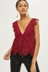 TOPSHOP Plunge Lace Peplum Top ~ burgundy-red plunging neckline tops
