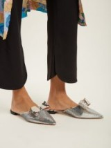 ROCHAS Point-toe sequin slipper shoes ~ metallic silver pointed flats