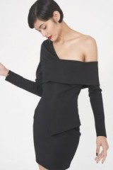 Lavish Alice Ponte Asymmetric Mini Dress in Black ~ off shoulder party dresses