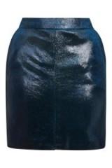 Topshop Pony Velvet Mini Skirt | blue skirts