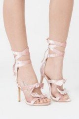 Lavish Alice Powdered Pink Velvet Wrap Ankle Stiletto ~ strappy party heels