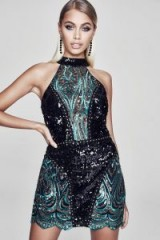 boohoo Premium Olivia Bandeau Sequin Stud Mini Dress – shimmering green party dresses