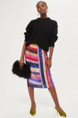 Topshop Premium Rainbow Sequin Midi Skirt / colourful luxe style skirts