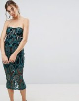 PrettyLittleThing Premium Embroidered Bandeau Midi Dress ~ strapless party dresses
