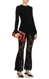 PROENZA SCHOULER Corded Lace Flared Pants   black semi sheer trousers