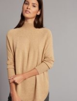 M&S COLLECTION Pure Cashmere Curved Hem Funnel Neck Jumper / camel jumpers / luxury style knitwear / Marks and Spencer sweaters