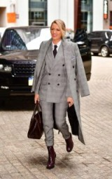 Blake Lively wearing a grey check print outfit from Ralph Lauren Collection