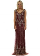 LUCY WANG Burgundy & Gold Glitter Sequins Fishtail Evening Dress ~ long dark red embellished party dresses ~ evening luxe