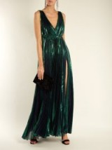 MARIA LUCIA HOHAN Reva deep V-neck pleated lamé gown ~ metallic green gowns