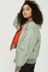 Topshop Reversible Bomber Jacket | green and orange jackets