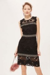 TOPSHOP Rings Geometric Lace Mini Dress – black sleeveless party dresses – lbd