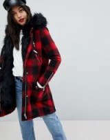 River Island Faux Fur Check Parka Coat / red checked winter coats
