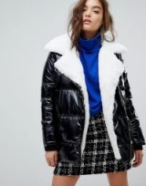 River Island Faux Fur Patent Puffer Jacket – monochrome jackets – winter style