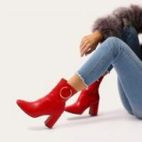 PUBLIC DESIRE ROBBI METAL RING ANKLE BOOTS IN RED
