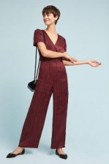 J.O.A Romia Burgundy Striped Jumpsuit   wine-red jumpsuits