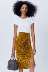 REBECCA MINKOFF ROMY SKIRT | citrine-yellow crushed velvet skirts | ruched fashion