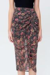 REBECCA MINKOFF ROMY FLORAL PRINT SKIRT | sheer ruched skirts
