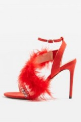 Topshop ROUGE Feather Heeled Sandals | red party heels