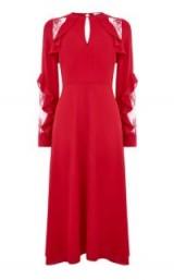 WAREHOUSE RUFFLE LACE INSERT MIDI DRESS ~ red dresses