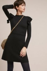 J.O.A. Ruffled Knit Dress / black knitted ruffle trim dresses / chic knitwear
