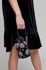 St Xavier Sabine Velvet Sun & Moon Drawstring Bag | small luxe beaded fabric bags