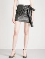 SANDRO Draped-detail lamé skirt | metallic mini skirts